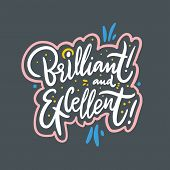 Brilliant And Excellent. Hand Drawn Vector Lettering. Isolated On Grey Background. Design For Holida poster