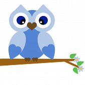 Vector Blue Summer Owl on a Branch