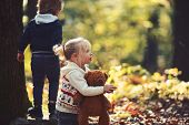 Sister And Brother Have Fun On Fresh Air. Little Boy And Girl Friends Camping In Woods. Childhood An poster