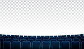 Realistic Rows Of Blue Chairs Cinema Or Movie Theater Seats In Front Of Transparent Background. Cine poster