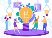Cartoon Flat Big Light Bulb Ideas Converter Generating Business Creation Girl With Light Bulb. Woman poster