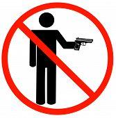 Stick Man Holding Hand Gun W Not Allowed