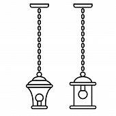 Black & White Vector Illustration Of Hanging Pendant Lantern Lamp. Line Icon Of Outdoor & Indoor Lig poster
