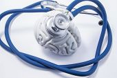 Shape Of Human Brain As Organ, Which Is Head Of Stethoscope. Pic For Protection, Research, Diagnosis poster