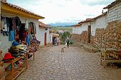 Cobblestone Walkway Of Chinchero Village Down To The Foothill, Sacred Valley Of The Inca, Cusco, Per poster