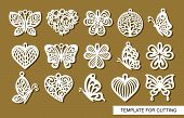 Set Of Decorative Pendants. Decor In Shape Openwork Butterflies, Clover Leaves, Round Tree Of Life A poster