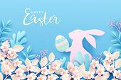 Happy Easter Festive Background. Cute Bunny In Spring Nature Holds An Easter Egg In Its Paws. Easter poster