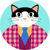 Icon Cat Funny Cartoon In Checked Jacket, Vest And Necktie. Happy Black And White Cat Dressed As Ele poster