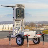Mobile Radar Speed Trailer With Speed Limit Sign poster