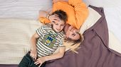Mother With Son On Bed, Mother And Son Having Fun, Mom And Her Teenager Son Lying On Bed, Mother Wit poster