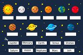 Learn The Planets, Educational Game For Preschool Kids. Cut And Glue Planets Name. Solar System. Car poster