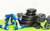 Fitness Expander And Barbell Weight Plates, Push Up  Equipment 1 poster