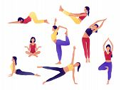 Yoga Workout Girl Set. Women Doing Yoga Exercises. Can Be Used For Poster, Banner, Flyer, Card, Webs poster