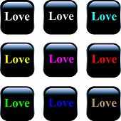 Set of vector buttons - Love