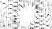 Halftone Gradient Explosion Pattern. Abstract Halftone Vector Dots Background. Fireworks Gray Dots P poster