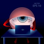 Cartoon gamer tired eye in the night