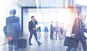 Business People Walking And Discussing Documents In Modern Office With Meeting Room. Double Exposure poster