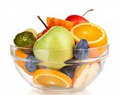 Glass bowl with fruit for diet isolated on white
