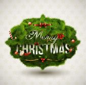 """Merry Christmas"", Creative label. Vector Illustration."