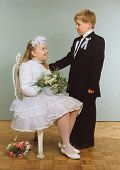 Vintage photo of brother and sister (First Communion) - eighties