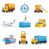 stock photo of boxcar  - Logistics icons - JPG