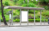 pic of bus-shelter  - blank advertising billboard on bus stop - JPG
