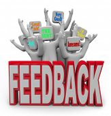 image of performance evaluation  - An audience of cheering customers provide feedback such as great job - JPG