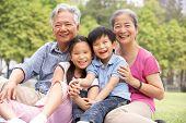 Avós chinês sentado com netos no Parque
