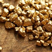 stock photo of gold nugget  - a mound of gold on a old wooden work table - JPG
