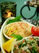 foto of tabouleh  - Tabouleh with hommus and lemon chick peas with fresh pita bread. ** Note: Shallow depth of field - JPG