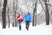 Couple walking and running in winter forest happy and joyful holding hands on romantic date in winte