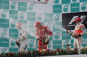 Podium Celebrations Of Malaysian F1 Grand Prix 2008
