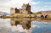 Closeup of Reflection of Eilean Donan Castle, Highland Scotland.
