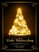 stock photo of weihnacht  - Warmly sparkling Christmas tree made of our of focus  lights on dark brown background with the text  - JPG