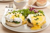 Eggs Florentine- toasted English muffins, ham, poached eggs, and delicious buttery hollandaise sauce.