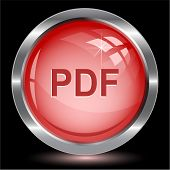 Pdf. Internet button. Raster illustration.