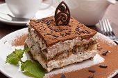 stock photo of biscuits  - Slice of homemade italian tiramisu dessert served on a plate - JPG