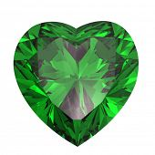 Heart shaped Diamond isolated on a white background. emerald