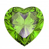 picture of peridot  - Heart shaped Diamond isolated on a white background - JPG