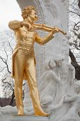 VIENNA- FEB 19: Johann Strauss statue near trees, FEB 19, 2012, in Vienna, Austria. 1903 committee w