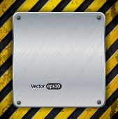 Metal plate over yellow warning stripes, vector