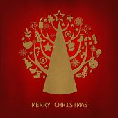 Red Merry Christmas Vintage Card, Vector Illustration