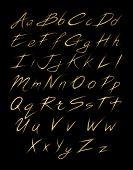 Alphabet of gold glittering stars dust trail (glittering font concept)