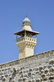 Minaret Spire In Old City Of Jerusalem.