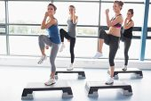 stock photo of step aerobics  - For women raising their leg swhile doing aerobics in gym - JPG