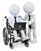 3D White People. Disabled Businessman Working With A Partner