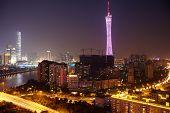 Panorama of Guangzhou at  night.