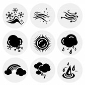 Vector black weather icons