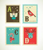 stock photo of nutcrackers  - Christmas alphabet with cute xmas icons - JPG