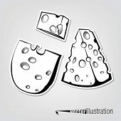 Set of vector decorative cheeses